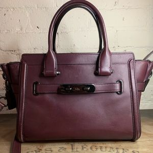 Coach Purple / Wine Leather Handbag